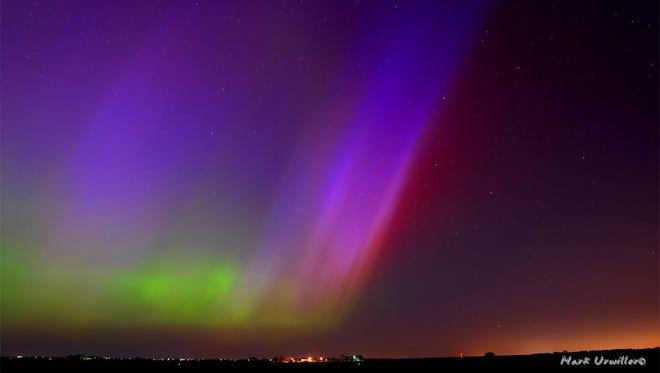The northern lights seen previously outside Kearney, Nebraska.