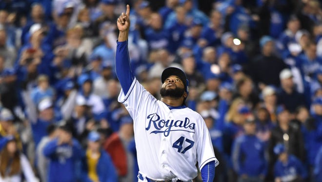 Kansas City Royals starting pitcher Johnny Cueto reacts after throwing a complete game to defeat the New York Mets in Game 2 of the 2015 World Series at Kauffman Stadium Wednesday night.
