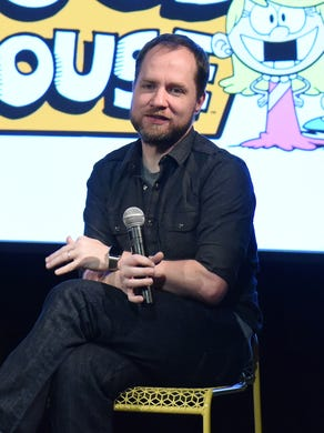 """Chris Savino, an animator and writer best known for creating The Loud House, was fired from Nickelodeon after multiple women lodged complaints against him. He's seen here with Producer Karen Malach, left, and writer Karla Sakas Shropshire during """"The Loud House"""" event presented by Nickelodeon during Day Two of aTVfest in this 2016 file photo."""