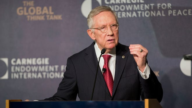 Senate Minority Leader Harry Reid, D-Nev., discusses the Iran nuclear agreement during his speech at the Carnegie Endowment for International Peace in Washington, Tuesday, Sept. 8, 2015.