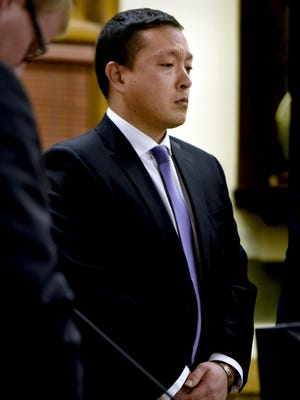 Markus Kaarma listens as a jury pronounces him guilty of deliberate homicide, Dec. 17, 2014, in Missoula County District Court in Missoula.