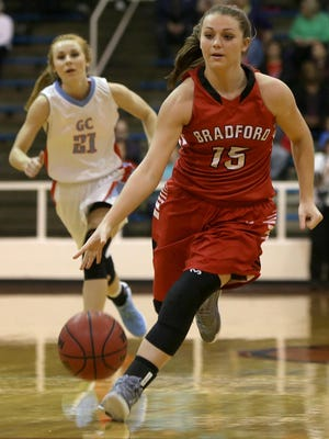 Bradford's Natalie Martin (15) and the Lady Red Devils will have an opportunity to avange an earlier loss to Greenfield on Friday.