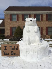 """I told you so"" is the message displayed by this 2015 groundhog snow sculpture created by the Zimmermans."