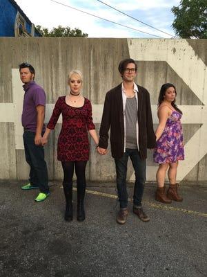 "Randall Pike, left, Kash Klemshire, Skylar Sprague and Amber Buker perform in ""The Shape of Things."""