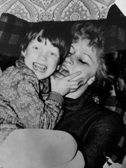 A picture of Annette Edmonds with her mom at age seven