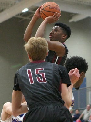 Crockett County's Javion Hannah (5) puts up a shot against Westview during the District 13-AA semifinals at South Gibson High School in Jackson, Tenn., on Friday, Feb. 17, 2017.