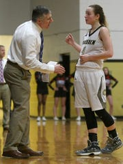 Dresden coach Jonathan West talks with Kasey Gallimore