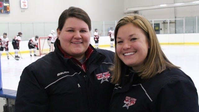 Maddie Haroldson (left) and Haley Haroldson (right) are sister assistant coaches on the River Lakes girls hockey team this season. Haley is in her third season, Maddie is in her first.
