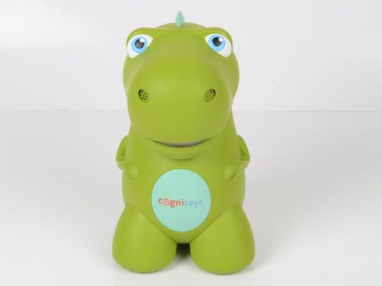 The small, plastic CogniToys Dino from New York-based Elemental Path answers questions and remembers a child's name.