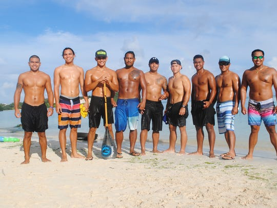 The men who will represent Guam in va'a, or outrigger