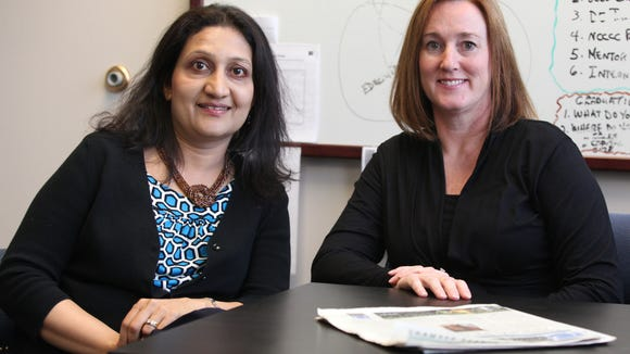 DeliveryCircle CEO Vijaya Rao (left), is seen with Jennifer Barrett, the startup's regional sales manager.