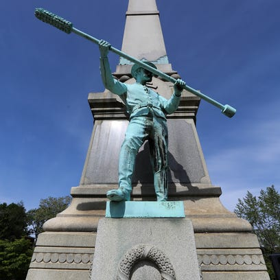 The Confederate monument on S. Third Street at the