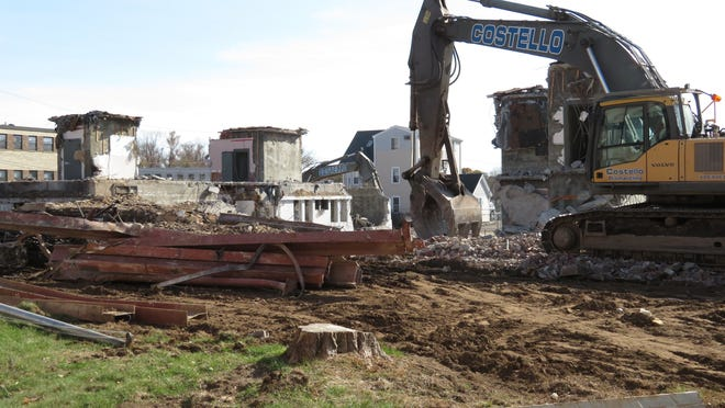 The scene on Saturday, Nov. 7, shows most of Town Hall demolished.