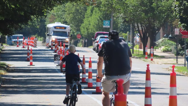 One of the most effective actions a community can take toward efficient, greener transportation is building a comfortable, well-connected bike network designed for everyone like this Holland test of a bike lane.