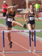 Wylie's Madison Latham, left, leaps over the last hurdle in the girls 300-meter hurdles. She finished second (46.49) to earn a state berth at the Region I-4A track and field meet Saturday in Lubbock.