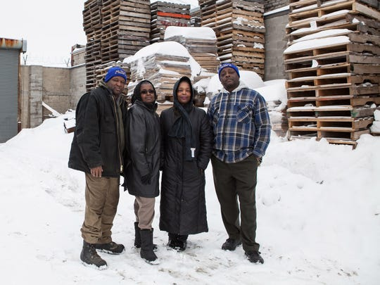 George Givhan, from left, Geraldine Wooten, Rebecca Givhan and Jake Dee are siblings who operate J & G Pallets & Trucking on Detroit's east side.