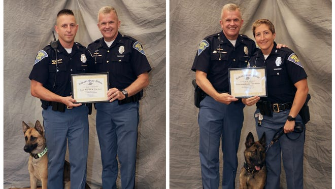 Left photo: Trooper Walter Butt, Superintendent Doug Carter and police dog Apache. Right photo: Superintendent Doug Carter, Trooper Susan Rinschler and police Maverick, right