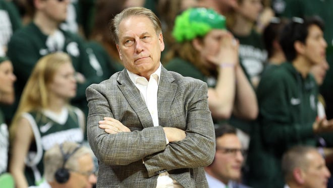 Michigan State Spartans head coach Tom Izzo looks on during the second half of a game against the Nebraska Cornhuskers at the Jack Breslin Student Events Center.