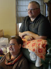 April Miron spends time with her husband, David, at their home in Chilton. April Miron received a heart transplant in September after three open heart surgeries.