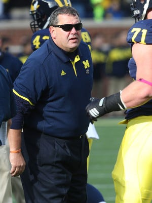 Michigan football coach Brady Hoke stands on the sideline during a game against Indiana at Michigan Stadium in Ann Arbor on Nov. 1, 2014.