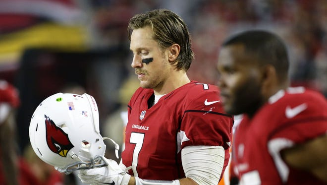 Arizona Cardinals quarterback Blaine Gabbert reacts during their 32-16 loss to the Los Angeles Rams in the fourth quarter at University of Phoenix Stadium in Glendale on Sunday.