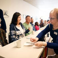 Carole Currie visits Gnelle at Rite Aid lunch counter one last time