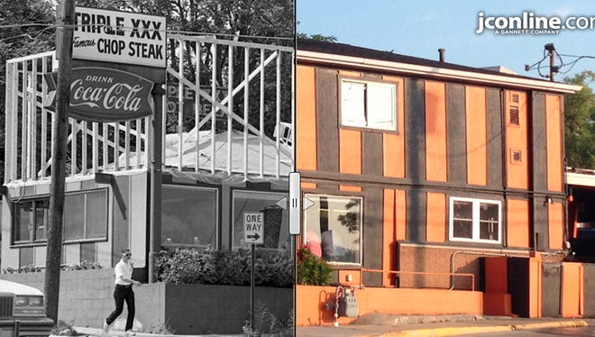 Work proceeds on a new 650-square-foot floor at Triple XXX Restaurant, 2 N. Salisbury St., West Lafayette, 1984 compared to 2014.