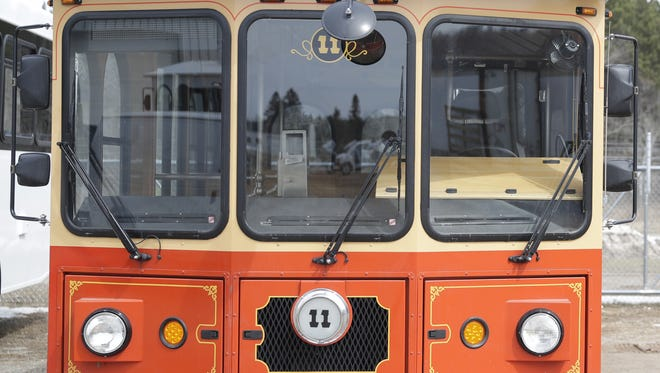 A trolley used in Gatlinburg, Tennessee was in for maintenance in late April at Hometown Trolley in Crandon, Wis.
