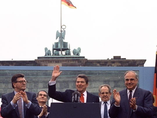 President Reagan acknowledges the crowd after his speech