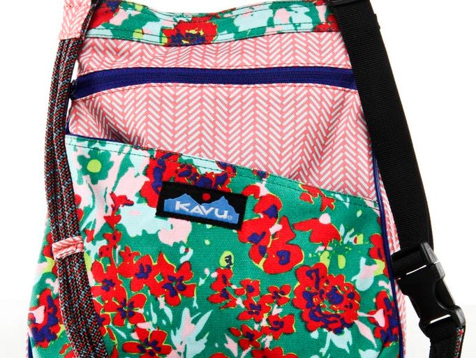 Canvas purse in vibrant colors will hold up through the school year. KAVU-Rose Garden Keepsake bag $40 at Quest Outdoors, 4600 Shelbyville Road and 4340 Summit Plaza Drive.