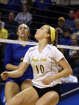 ASU's Meghan Parker (10) gets ready to return the ball against the Texas A&M-Kingsville Lady Javelinas in an NCAA Division II South Central Regional quarterfinal at the Junell Center on Thursday night. The Belles swept the Lady Javs in three sets.