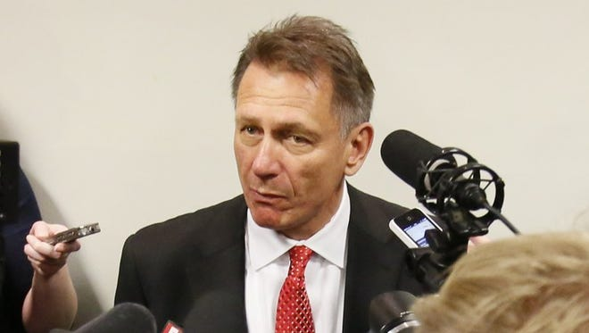 Detroit Red Wings general manager Ken Holland talks to the media in April 29, 2014.