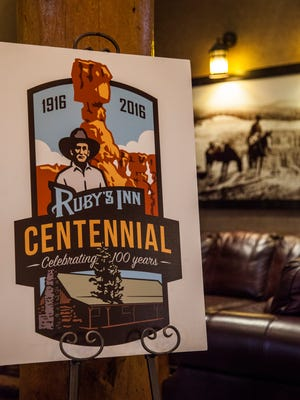 A poster marking the centennial of Ruby's Inn sits inside the lobby, Friday, April 8, 2016.
