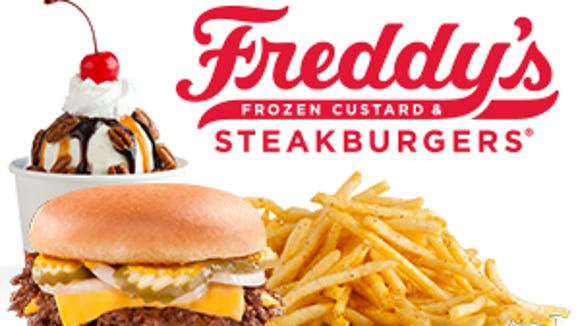 Freddy's specializes in items like lean beef steakburgers, shoestring fries and frozen custard.