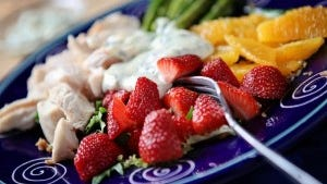 Strawberry Cobb salad with cooked mint dressing