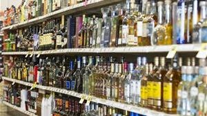 Bottles of liquor are seen at a store in Carmel, Ind.