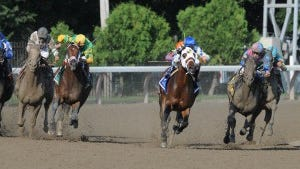 Itsmyluckyday couldn't quite run down Moreno (white blinkers) to win Saratoga's Whitney Stakes.