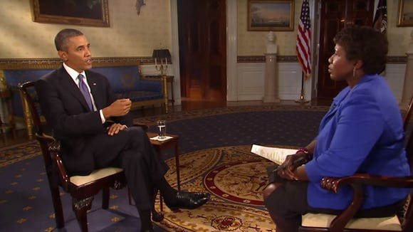 President Obama speaks to the PBS Newshour's Gwen Ifill