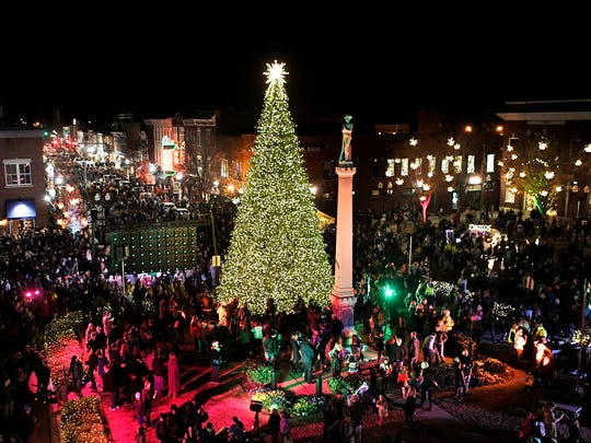 A view from a Middle Tennessee Electric bucket truck of the city of Franklin's Christmas tree lighting ceremony on the downtown Franklin square on Friday, Dec. 1, 2017.