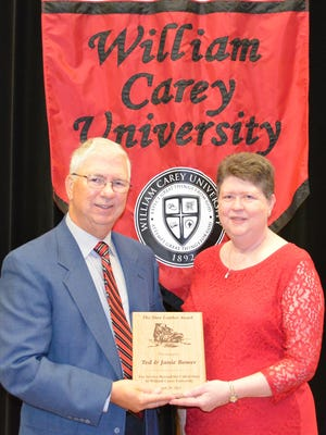 Pictured are Ted and Janie Bower, recipients of the 2015 Shoe Leather Award given by William Carey University .