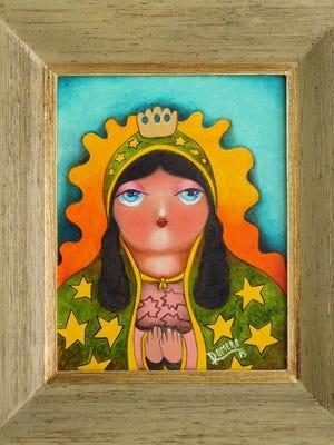 """""""Virgen de Guadalupe"""" by Francisco Romero, part of the """"Retro Retablo"""" exhibit at the Hal Marcus Gallery"""