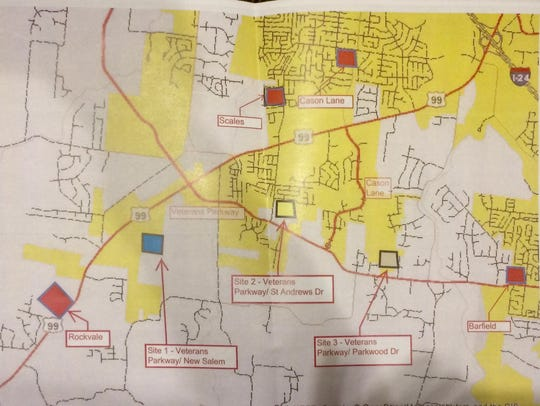 This map shows the three sites proposed for a new Murfreesboro