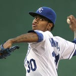 Kansas City Royals starting pitcher Yordano Ventura throws during the first inning against the Detroit Tigers on Wednesday in Kansas City.