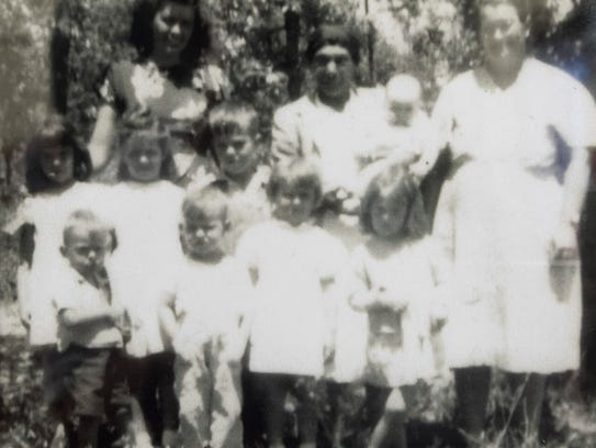 """Midwife Missouria """"Bama"""" Holley, center in back row,"""