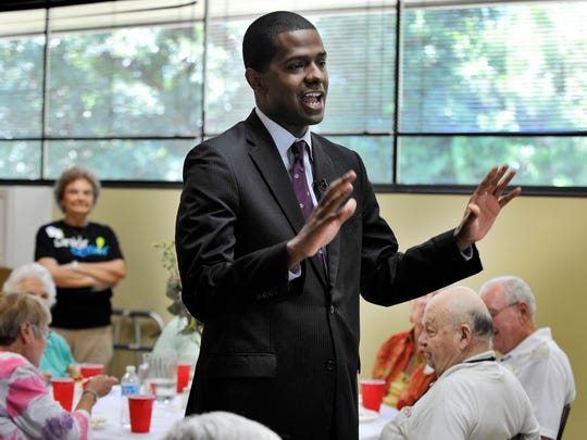 """Representative Bakari Sellers, who recently announced a statewide tour of senior centers and assisted living facilities, makes a stop at Senior Action in Greenville on Monday, July 28, 2014. While at Senior Action Sellers released his """"South Carolina Senior Plan."""" The plan includes greater tax breaks, an enhanced transportation initiative and better care for seniors."""