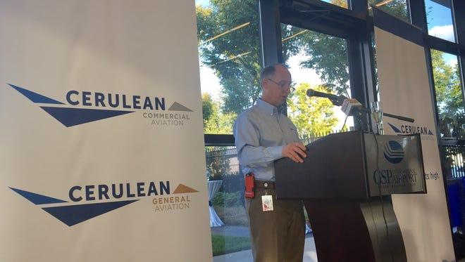 Greenville-Spartanburg International Airport President and CEO David Edwards unveils GSP's new Cerulean Aviation for fixed-base operations.