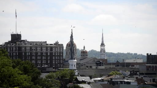 York city skyline seen from the rooftop of Think Loud's 201 York St. headquarters.
