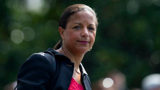 """FILE - In this July 7, 2016 file photo, then-National Security Adviser Susan Rice is seen on the South Lawn of the White House in Washington. Rice  says it's """"absolutely false"""" that the previous administration used intelligence about President Donald Trump's associates for political purposes."""