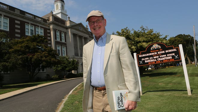 """Roger Martin, a Mamaroneck resident and former college president has recently written a new book on higher education, """"Off to College: A Guide for Parents"""".  Here he is pictured at the school he attended, Mamaroneck High School, Aug. 18, 2015."""