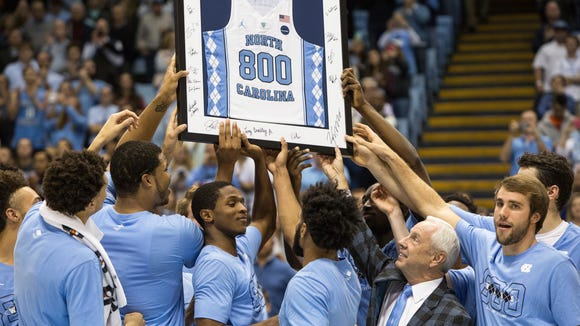 Western North Carolina native and Roberson alum Roy Williams won his 800th career game with the North Carolina basketball team on Monday.